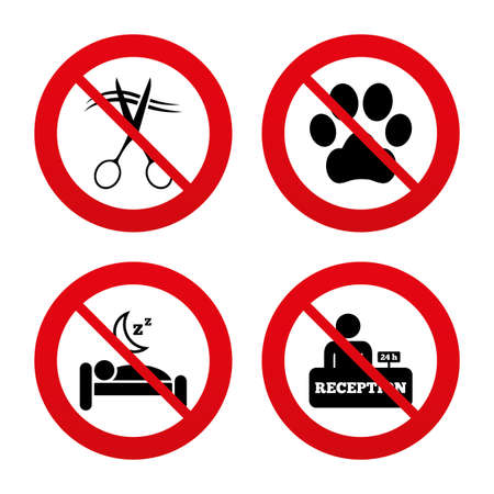 quiet room: No, Ban or Stop signs. Hotel services icons. With pets allowed in room signs. Hairdresser or barbershop symbol. Reception registration table. Quiet sleep. Prohibition forbidden red symbols. Vector