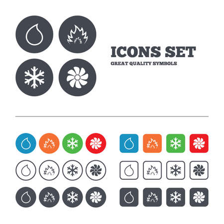heating: HVAC icons. Heating, ventilating and air conditioning symbols. Water supply. Climate control technology signs. Web buttons set. Circles and squares templates. Vector