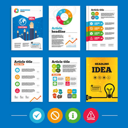 Brochure or flyers design. Information icons. Stop prohibition and attention caution signs. Approved check mark symbol. Business poll results infographics. Vector Vector