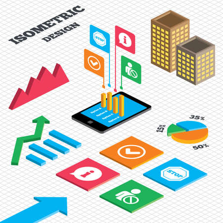 blacklist: Isometric design. Graph and pie chart. Information icons. Stop prohibition and user blacklist signs. Approved check mark symbol. Tall city buildings with windows. Vector