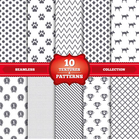 Repeatable patterns and textures. Pets icons. Cat paw with clutches sign. Winner cup and medal symbol. Dog silhouette. Gray dots, circles, lines on white background. Vector