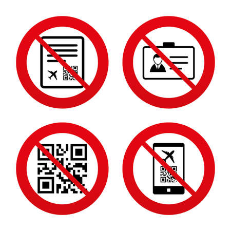 boarding card: No, Ban or Stop signs. QR scan code in smartphone icon. Boarding pass flight sign. Identity ID card badge symbol. Prohibition forbidden red symbols. Vector Illustration