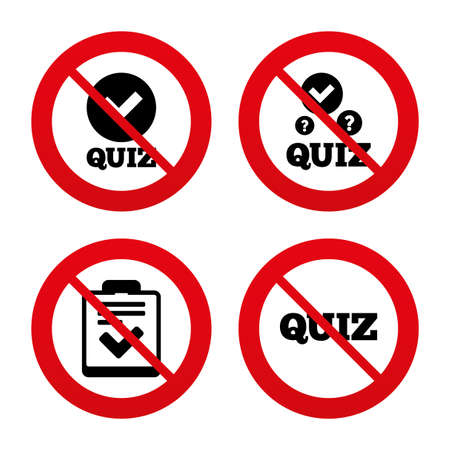 No, Ban or Stop signs. Quiz icons. Checklist with check mark symbol. Survey poll or questionnaire feedback form sign. Prohibition forbidden red symbols. Vector Vector