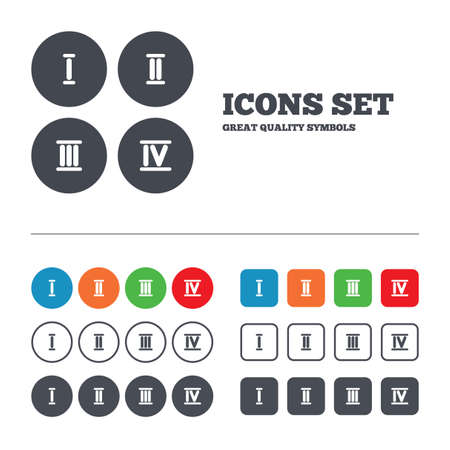 web 2: Roman numeral icons. 1, 2, 3 and 4 digit characters. Ancient Rome numeric system. Web buttons set. Circles and squares templates. Vector Illustration