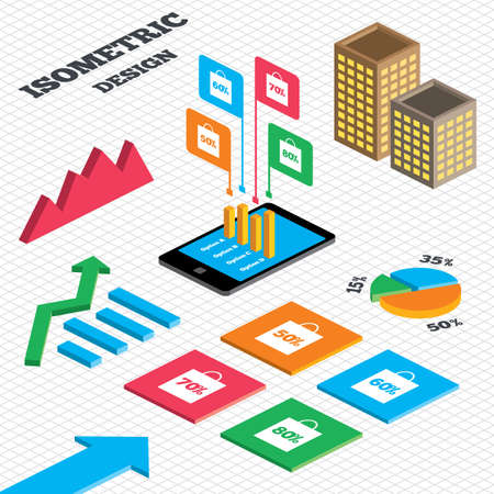50 to 60: Isometric design. Graph and pie chart. Sale bag tag icons. Discount special offer symbols. 50%, 60%, 70% and 80% percent discount signs. Tall city buildings with windows. Vector