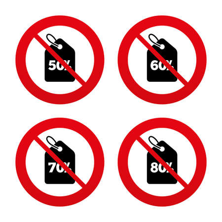 60 70: No, Ban or Stop signs. Sale price tag icons. Discount special offer symbols. 50%, 60%, 70% and 80% percent discount signs. Prohibition forbidden red symbols. Vector Illustration