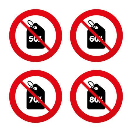 50 60: Signos No, Ban o detenerse. Iconos de la venta etiqueta de precio. Descuento s�mbolos oferta especial. 50%, 60%, 70% y 80% signos ciento de descuento. Prohibici�n prohibido s�mbolos rojos. Vector Vectores