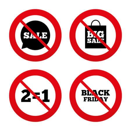 equals: Nein, Ban oder Stoppschilder. Verkauf Sprechblase Symbole. Zwei gleich eins. Black friday Zeichen. Big Verkauf Einkaufstasche Symbol. Prohibition verbotenen roten Symbolen. Vektor Illustration