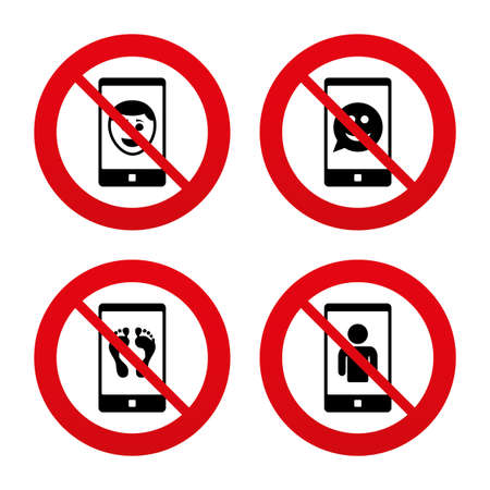 video call: No, Ban or Stop signs. Selfie smile face icon. Smartphone video call symbol. Self feet or legs photo. Prohibition forbidden red symbols. Vector