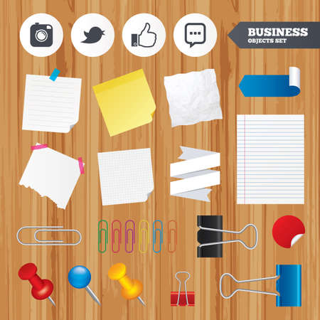 chat up: Paper sheets. Office business stickers, pin, clip. Hipster photo camera icon. Like and Chat speech bubble sign. Hand thumb up. Bird symbol. Squared, lined pages. Vector Illustration