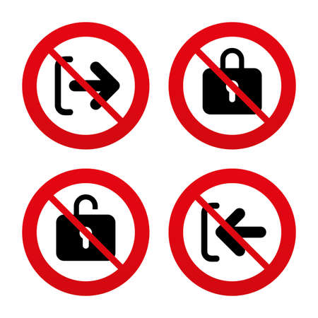 sign out: No, Ban or Stop signs. Login and Logout icons. Sign in or Sign out symbols. Lock icon. Prohibition forbidden red symbols. Vector