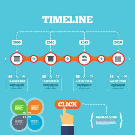 Timeline with arrows and quotes. Louvers icons. Plisse, rolls, vertical and horizontal. Window blinds or jalousie symbols. Four options steps. Click hand. Vector