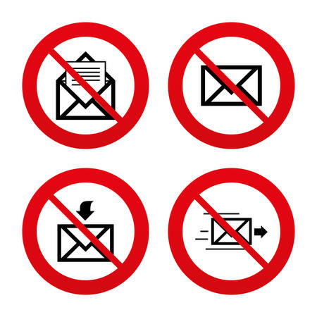 outbox: No, Ban or Stop signs. Mail envelope icons. Message document delivery symbol. Post office letter signs. Inbox and outbox message icons. Prohibition forbidden red symbols. Vector Illustration