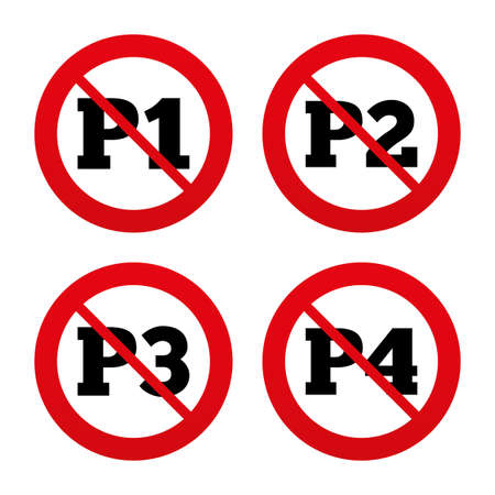 second floor: No, Ban or Stop signs. Car parking icons. First, second, third and four floor signs. P1, P2, P3 and P4 symbols. Prohibition forbidden red symbols. Vector Illustration