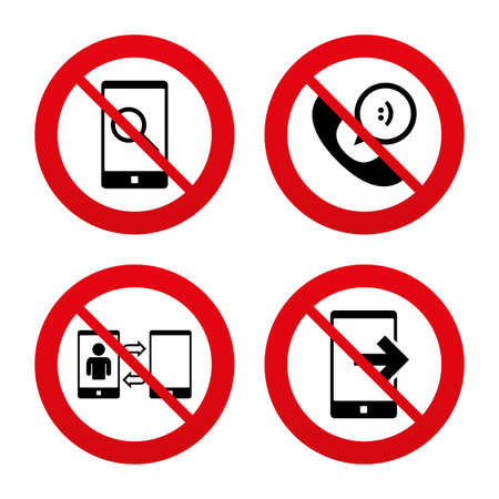 phone ban: No, Ban or Stop signs. Phone icons. Smartphone with speech bubble sign. Call center support symbol. Synchronization symbol. Prohibition forbidden red symbols. Vector