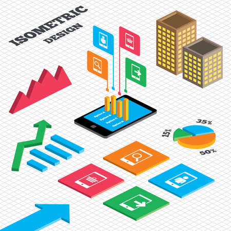 outcoming: Isometric design. Graph and pie chart. Phone icons. Smartphone video call sign. Search, online shopping symbols. Outcoming call. Tall city buildings with windows. Vector