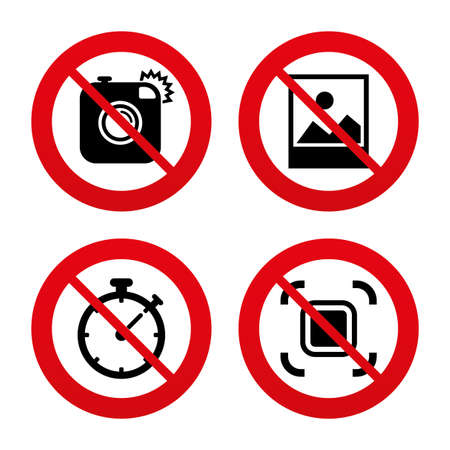 autofocus: No, Ban or Stop signs. Hipster retro photo camera icon. Autofocus zone symbol. Stopwatch timer sign. Landscape photo frame. Prohibition forbidden red symbols. Vector