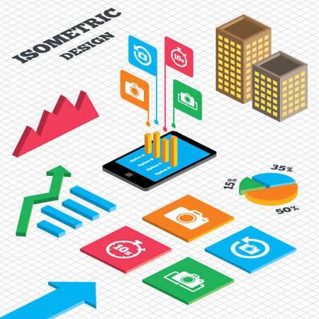 seconds: Isometric design. Graph and pie chart. Photo camera icon. Flip turn or refresh symbols. Stopwatch timer 10 seconds sign. Tall city buildings with windows. Vector