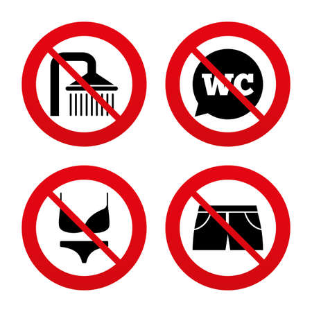 No, Ban or Stop signs. Swimming pool icons. Shower water drops and swimwear symbols. WC Toilet speech bubble sign. Trunks and women underwear. Prohibition forbidden red symbols. Vector