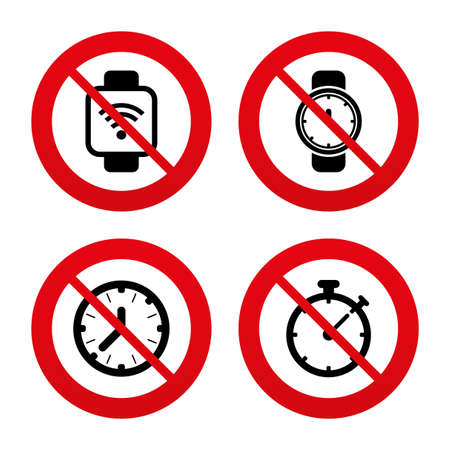 digital timer: No, Ban or Stop signs. Smart watch wi-fi icons. Mechanical clock time, Stopwatch timer symbols. Wrist digital watch sign. Prohibition forbidden red symbols. Vector