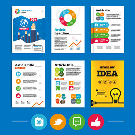 chat up: Brochure or flyers design. Hipster photo camera icon. Like and Chat speech bubble sign. Hand thumb up. Bird symbol. Business poll results infographics. Vector