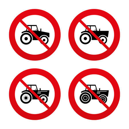 tractor warning sign: No, Ban or Stop signs. Tractor icons. Agricultural industry transport symbols. Prohibition forbidden red symbols. Vector