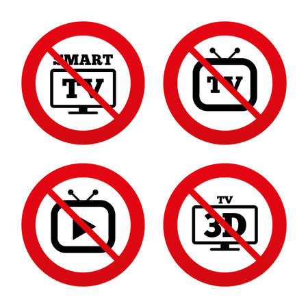 3d mode: No, Ban or Stop signs. Smart 3D TV mode icon. Widescreen symbol. Retro television and TV table signs. Prohibition forbidden red symbols. Vector