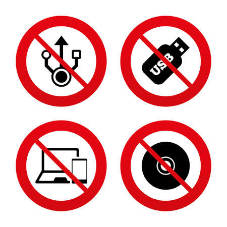 device disc: No, Ban or Stop signs. Usb flash drive icons. Notebook or Laptop pc symbols. Smartphone device. CD or DVD sign. Compact disc. Prohibition forbidden red symbols. Vector Illustration