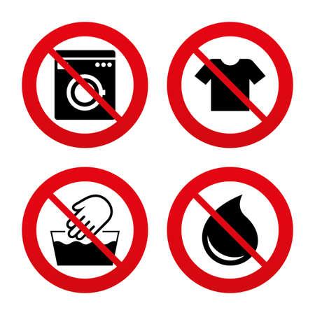 washable: Signos No, Ban o detenerse. Icono de la m�quina de lavado. Lavado a mano. T-shirt ropa s�mbolo. Lavadero Servicio de lavander�a y gota de agua signos. No es lavable a m�quina. Prohibici�n prohibido s�mbolos rojos. Vector