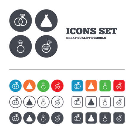 web engagement: Wedding dress icon. Bride and groom rings symbol. Wedding or engagement day ring shine with diamond sign. Will you marry me? Web buttons set. Circles and squares templates. Vector Illustration