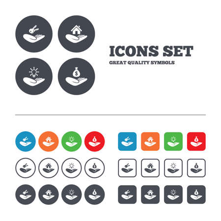 Helping hands icons. Financial money savings insurance symbol. Home house or real estate and lamp, key signs. Web buttons set. Circles and squares templates. Vector Vector