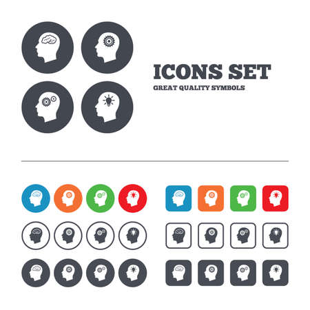 Head with brain and idea lamp bulb icons. Male human think symbols. Cogwheel gears signs. Web buttons set. Circles and squares templates. Vector Vector