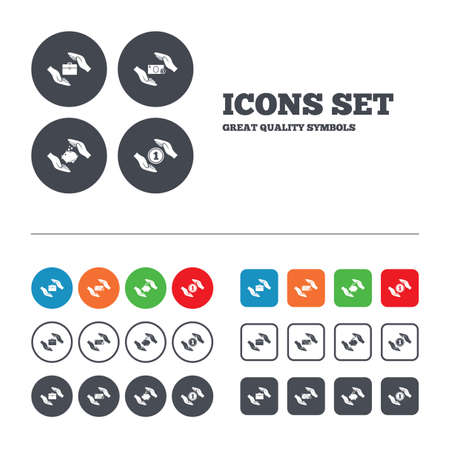 Hands insurance icons. Piggy bank moneybox symbol. Money savings insurance signs. Travel luggage and cash coin symbols. Web buttons set. Circles and squares templates. Vector Vector