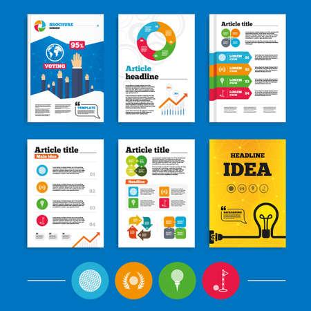 Brochure of flyers ontwerp. Golfbal pictogrammen. Lauwerkrans award ondertekenen. Luxe sport symbool. Zakelijke poll resultaten infographics. Vector