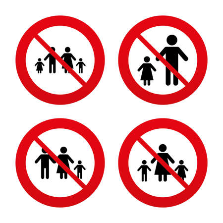 No, Ban or Stop signs. Family with two children icon. Parents and kids symbols. One-parent family signs. Mother and father divorce. Prohibition forbidden red symbols. Vector Illustration