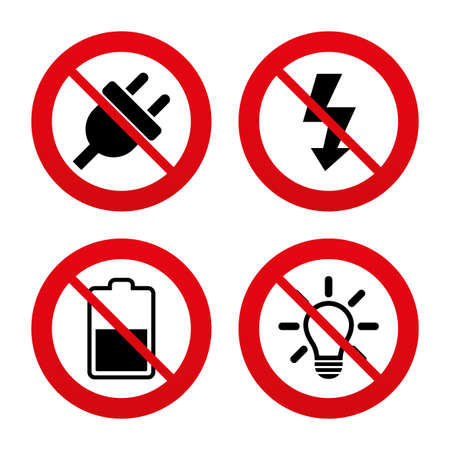 electricity: No, Ban or Stop signs. Electric plug icon. Light lamp and battery half symbols. Low electricity and idea signs. Prohibition forbidden red symbols. Vector
