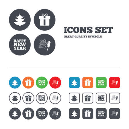 Happy new year icon. Christmas tree and gift box signs. Fireworks rocket symbol. Web buttons set. Circles and squares templates. Vector Vector
