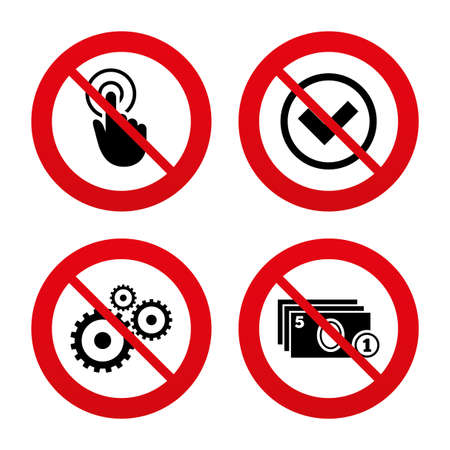 No: No, Ban or Stop signs. ATM cash machine withdrawal icons. Click here, check PIN number, processing and cash withdrawal symbols. Prohibition forbidden red symbols. Vector