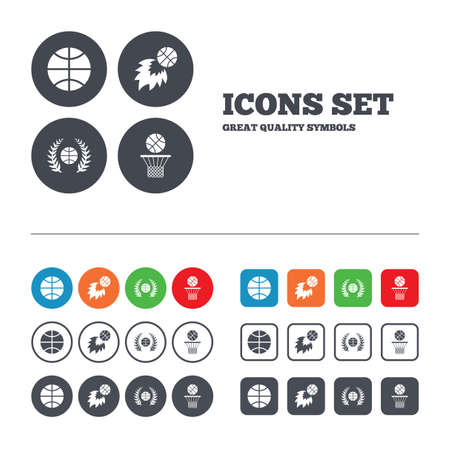 Basketball sport icons. Ball with basket and fireball signs. Laurel wreath symbol. Web buttons set. Circles and squares templates. Vector Vector