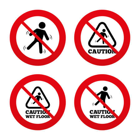 slippery floor: No, Ban or Stop signs. Caution wet floor icons. Human falling triangle symbol. Slippery surface sign. Prohibition forbidden red symbols. Vector