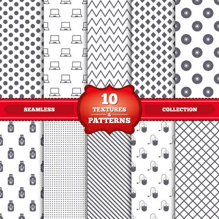 Repeatable patterns and textures. Notebook pc and Usb flash drive stick icons. Computer mouse and CD or DVD sign symbols. Gray dots, circles, lines on white background. Vector Vector