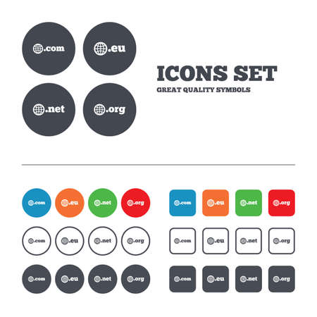 dns: Top-level internet domain icons. Com, Eu, Net and Org symbols with globe. Unique DNS names. Web buttons set. Circles and squares templates. Vector