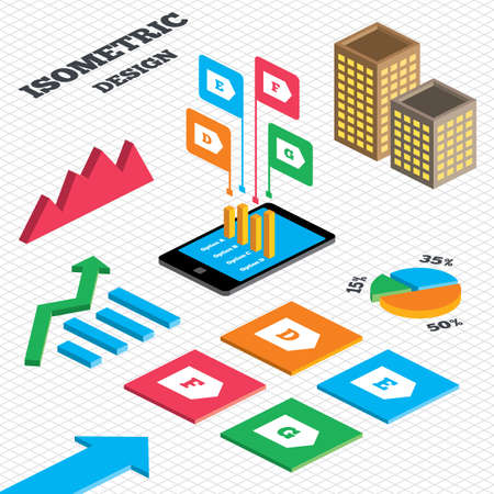 d mark: Isometric design. Graph and pie chart. Energy efficiency class icons. Energy consumption sign symbols. Class D, E, F and G. Tall city buildings with windows. Vector Illustration