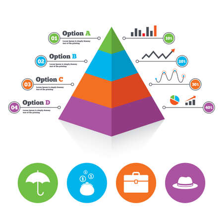 business case: Pyramid chart template. Clothing accessories icons. Umbrella and headdress hat signs. Wallet with cash coins, business case symbols. Infographic progress diagram. Vector Illustration