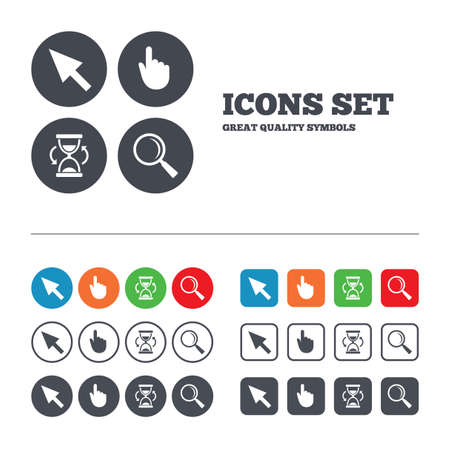sandglass: Mouse cursor and hand pointer icons. Hourglass and magnifier glass navigation sign symbols. Web buttons set. Circles and squares templates. Vector Illustration