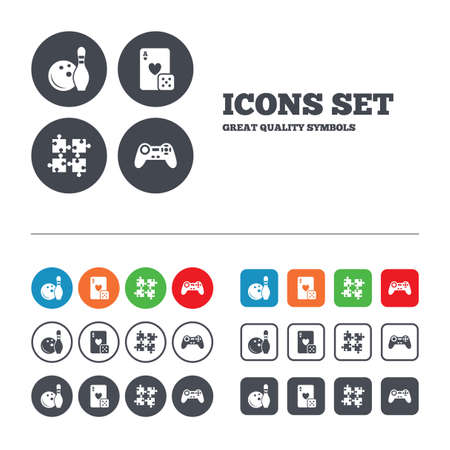 playing video game: Bowling and Casino icons. Video game joystick and playing card with puzzles pieces symbols. Entertainment signs. Web buttons set. Circles and squares templates. Vector