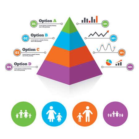 famiglia numerosa: Piramide modello di grafico. Grande famiglia con l'icona dei bambini. Genitori e bambini simboli. Segni famiglia monoparentale. Madre e padre di divorzio. Lo schema di progresso Infografica. Vettore