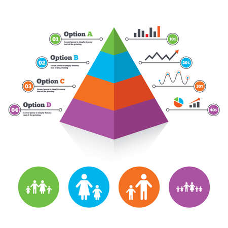 orphan: Pyramid chart template. Large family with children icon. Parents and kids symbols. One-parent family signs. Mother and father divorce. Infographic progress diagram. Vector Illustration