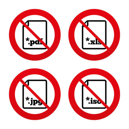 extensions: No, Ban or Stop signs. Download document icons. File extensions symbols. PDF, XLS, JPG and ISO virtual drive signs. Prohibition forbidden red symbols. Vector