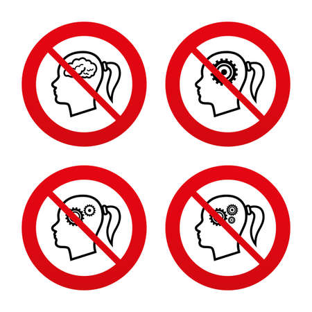 No, Ban or Stop signs. Head with brain icon. Female woman think symbols. Cogwheel gears signs. Prohibition forbidden red symbols. Vector Vector